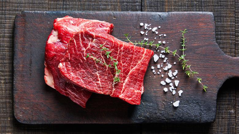 Raw flat iron steaks