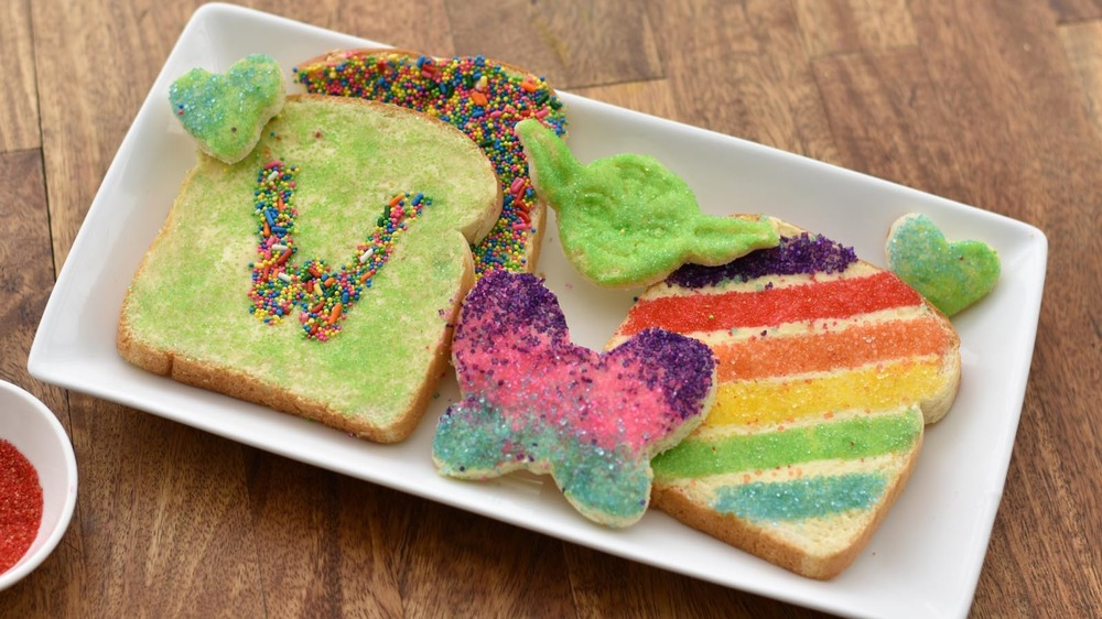 white plate of fairy bread samples