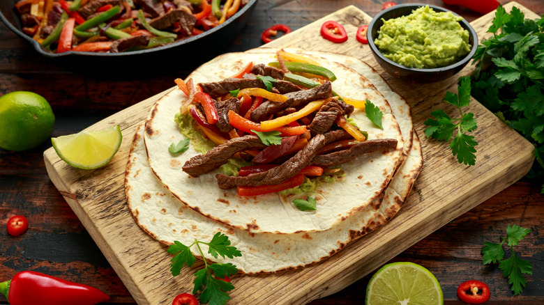 Fajita meat on tortilla