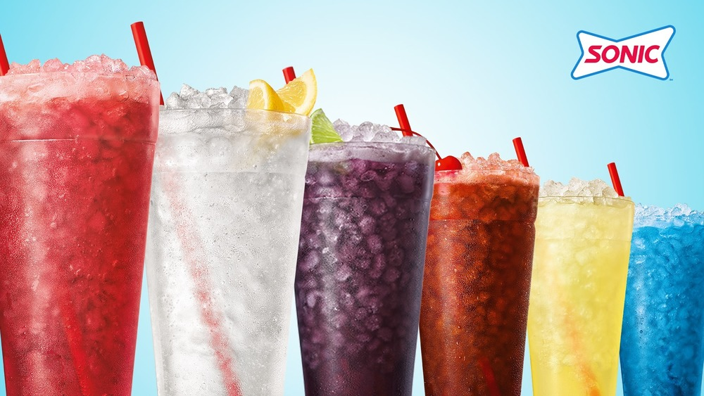 Sonic's ice drinks lined up in a row