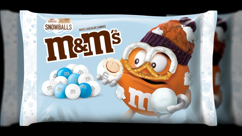 M&M White Chocolate Pretzel Snowballs package