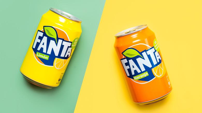lemon and orange fanta cans