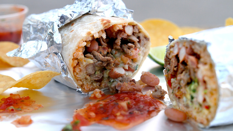 Fast food burrito wrapped in foil