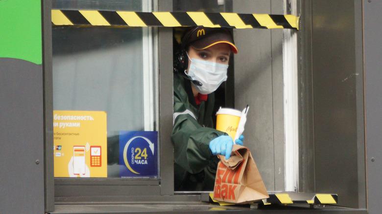 McDonald's drive-thru employee with face mask