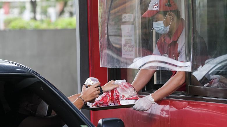 Getting fast food through a window