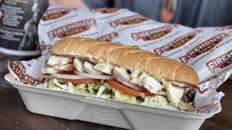 Firehouse Sub sandwich in takeout tray