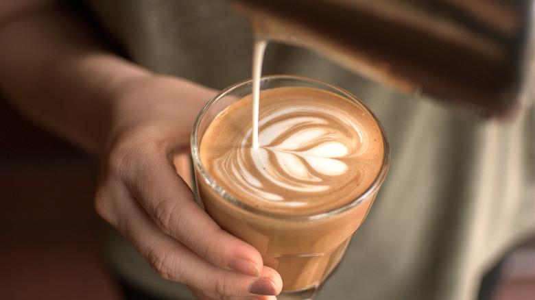 Making a latte in a glass