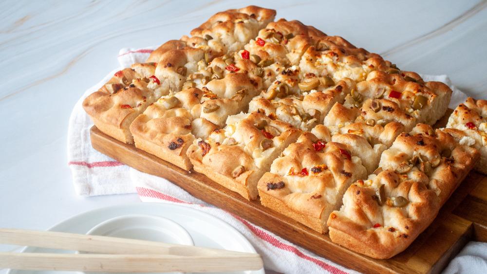 focaccia bread on table