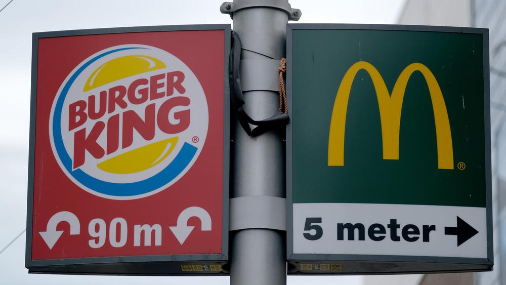 Burger King and McDonald's sign