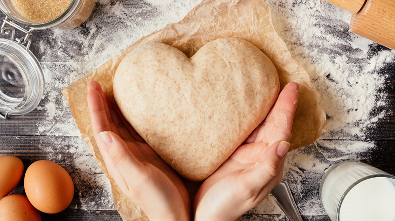 heart-shaped bread dough