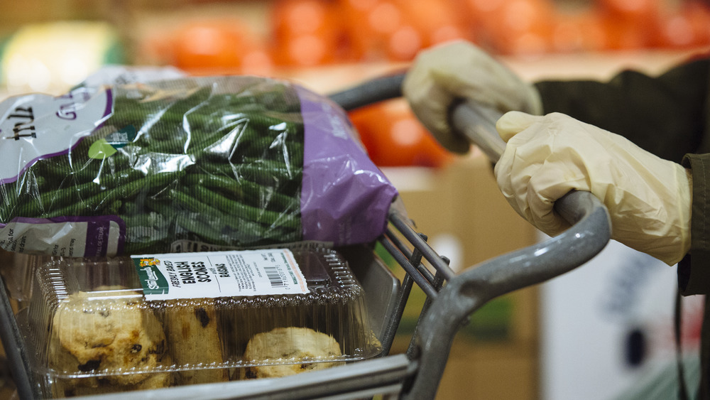 Grocery cart with fresh food