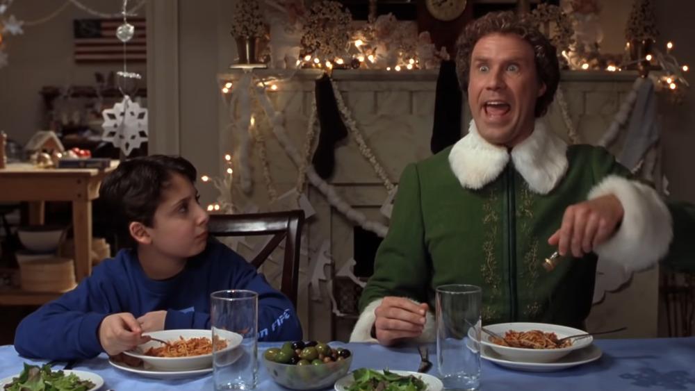 Will Ferrell Elf spaghetti with syrup dinner scene