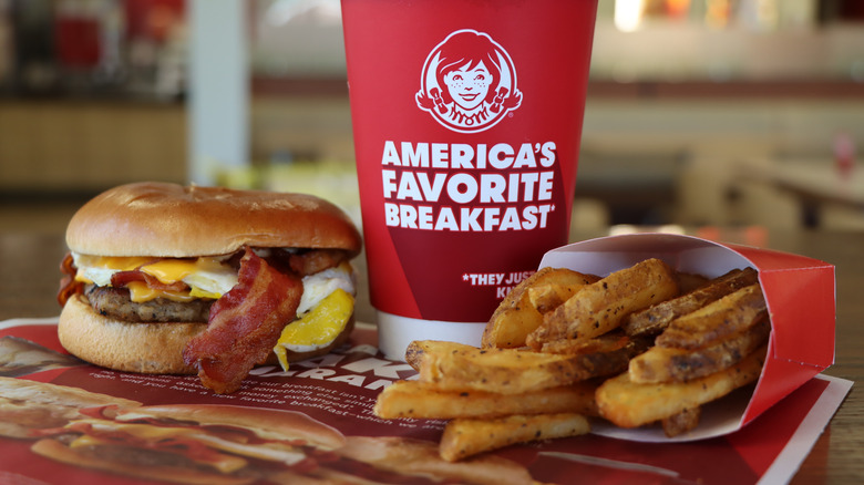 Fries, sandwich, and beverage at Wendy's