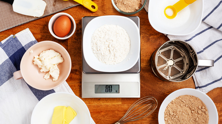 baking ingredients and digital scale