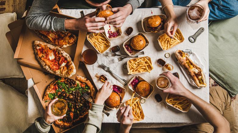 people eating fast food