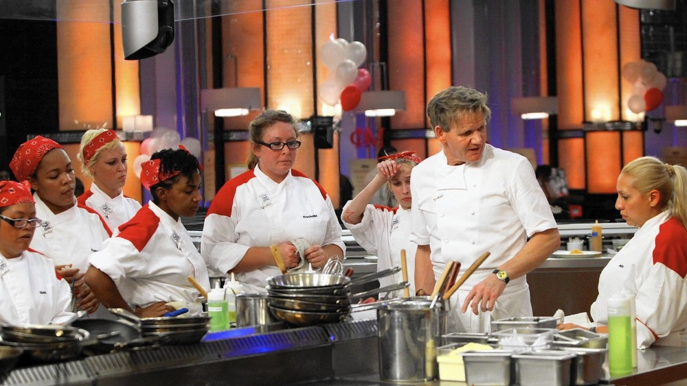 Gordon Ramsay speaking with Hell's Kitchen contestants