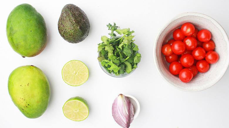 Ingredients to make mango salsa