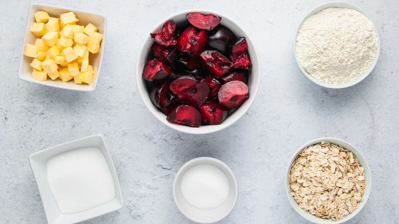 ingredients for plum crumble
