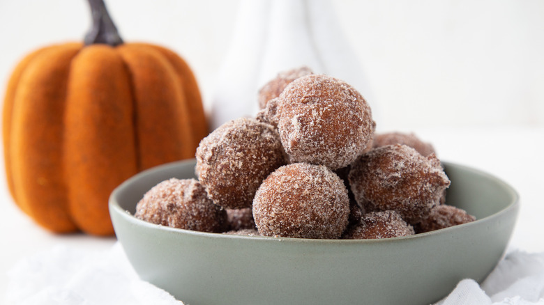 fried pumpkin donut holes bowl