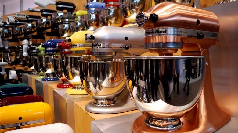 KitchenAid stand mixers at a store