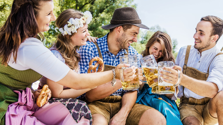 People drinking beer at Oktoberfest