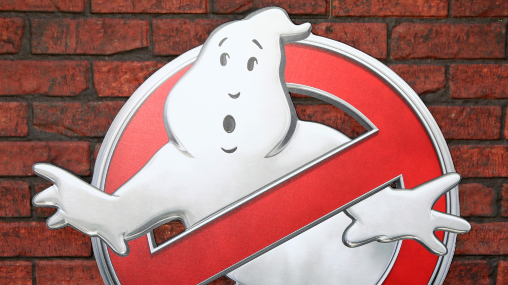 Ghostbusters logo on a brick wall