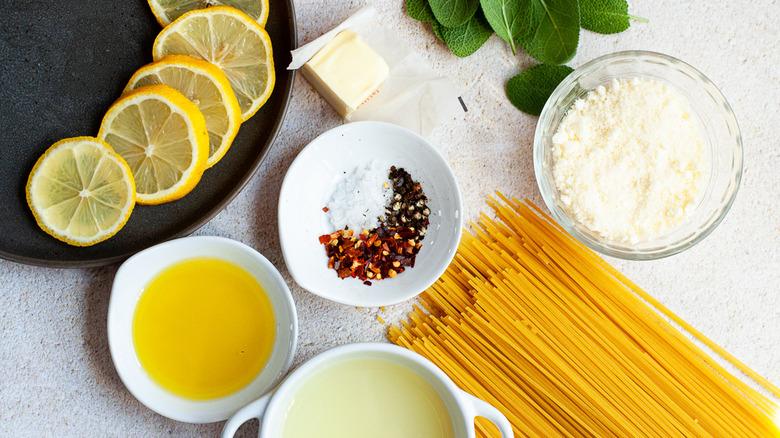 Ingredients for lemon spaghetti
