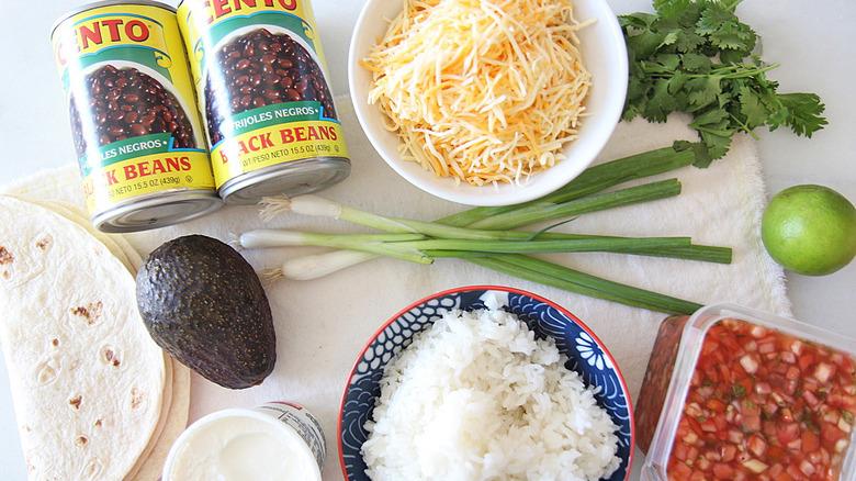 Giant burrito ingredients