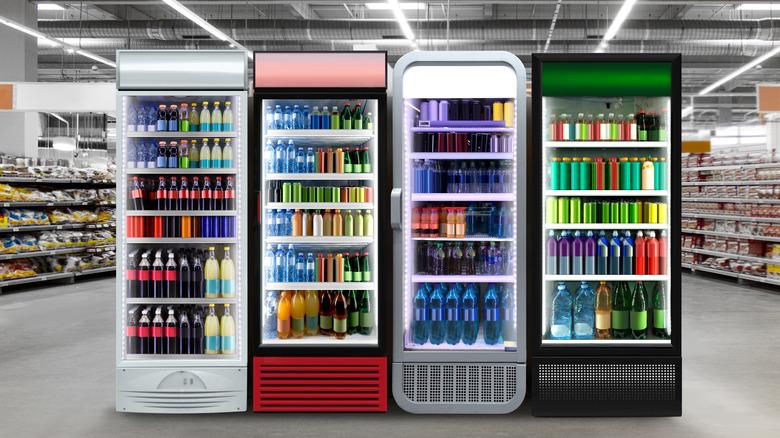 Generic sodas in refrigerators