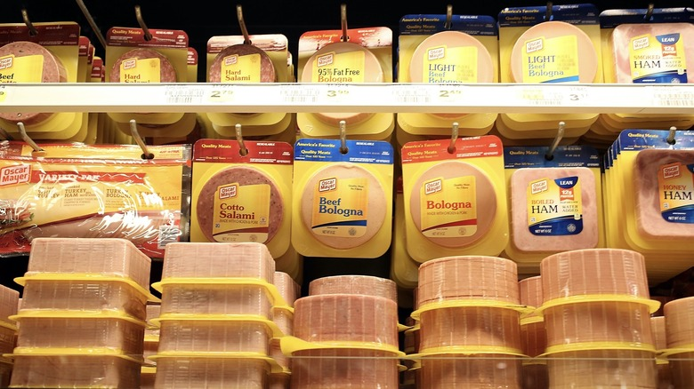 Packaged meats in store display