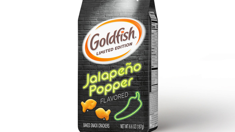 A bag of limited-edition Jalapeno Popper Goldfish