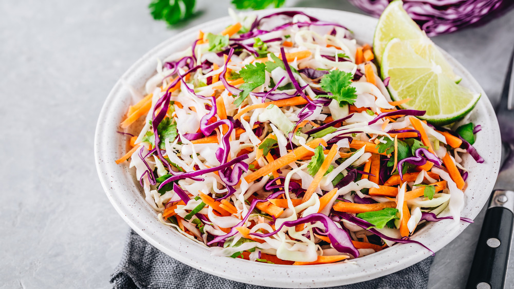 Asian slaw salad on a plate