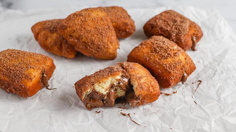 mini sugared donuts with nutella