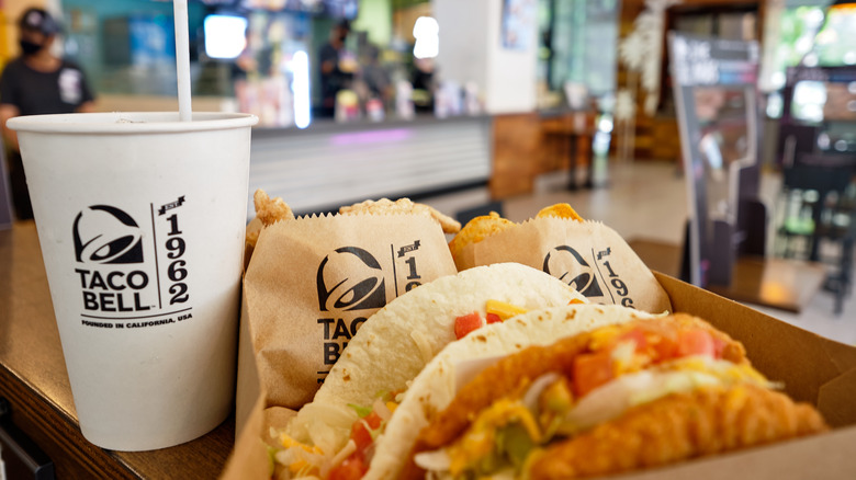 Taco Bell tacos and cups