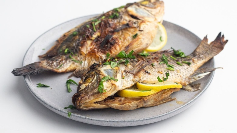 grilled whole tilapia with lemon