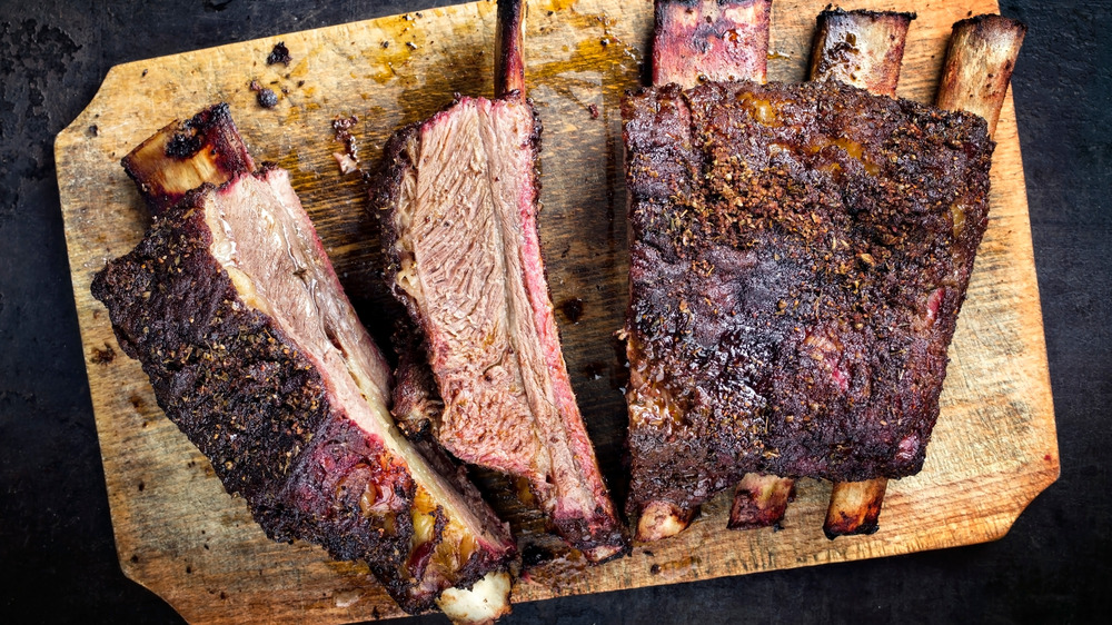 Ribs on a wooden cutting board