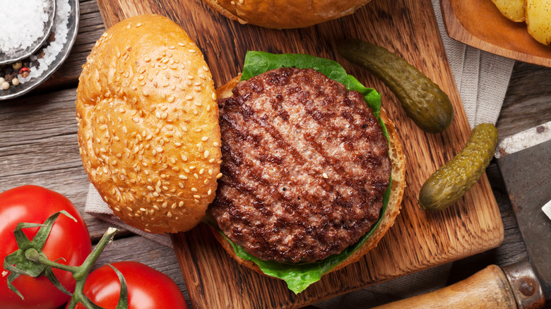 Grilled hamburger seen from above