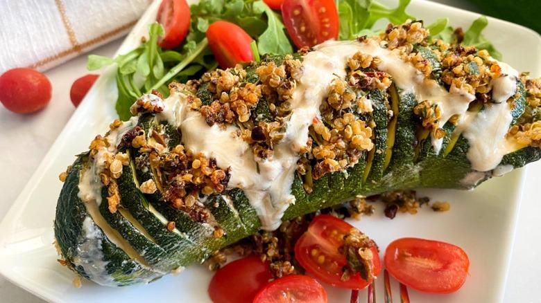 hasselback zucchini on plate