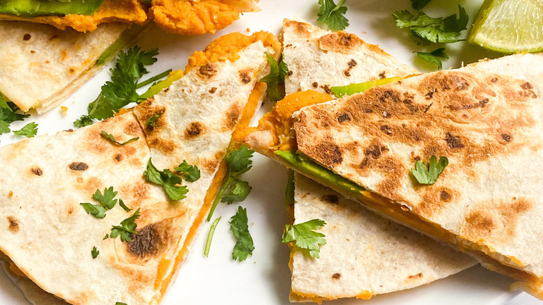 sweet potato quesadillas on plate