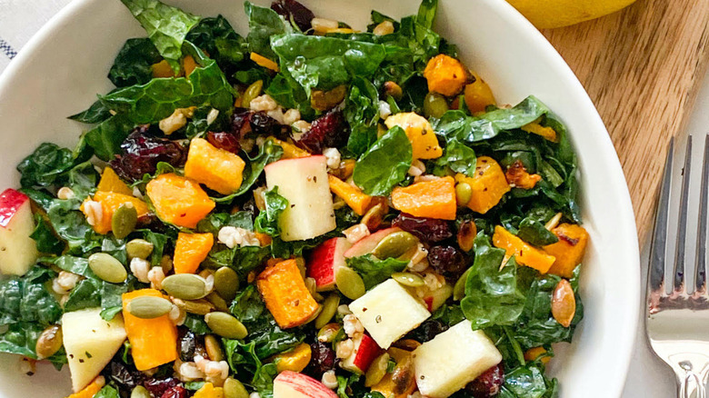 fall salad in white bowl
