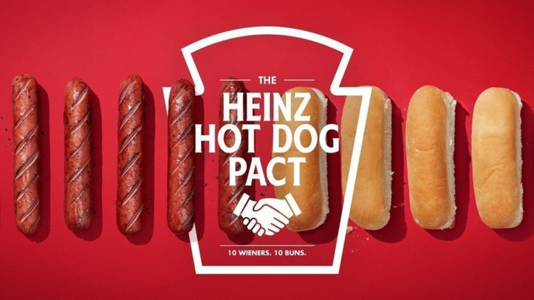 Heinz Hot Dog Pact row of hot dogs and buns against red background