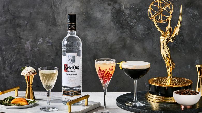Emmy Statuette, Ketel One bottle, cocktails