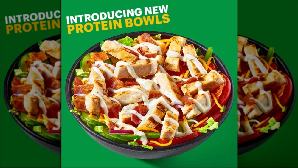 Ad for Subway's chicken protein bowl