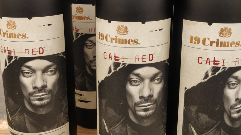 Bottles of 19 Crimes wine with Snoop Dogg on the labels