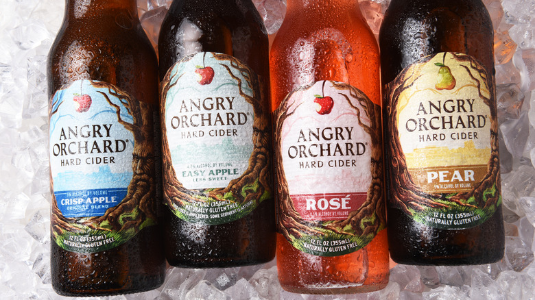 Bottles of Angry Orchard on ice