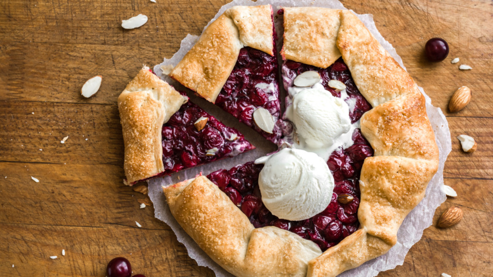 cherry galette topped with ice cream