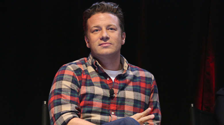 Jamie Oliver speaks at an event