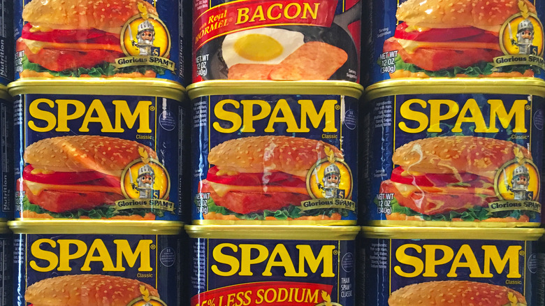 Stacked cans of Spam