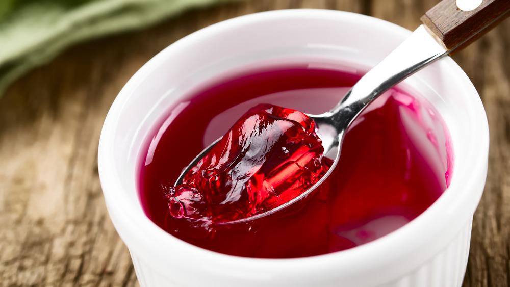 Red gelatin dessert in a cup