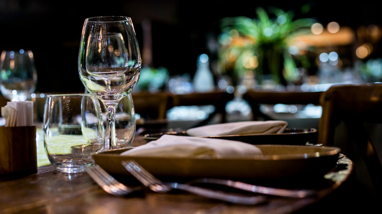 place setting at fine dining restaurant
